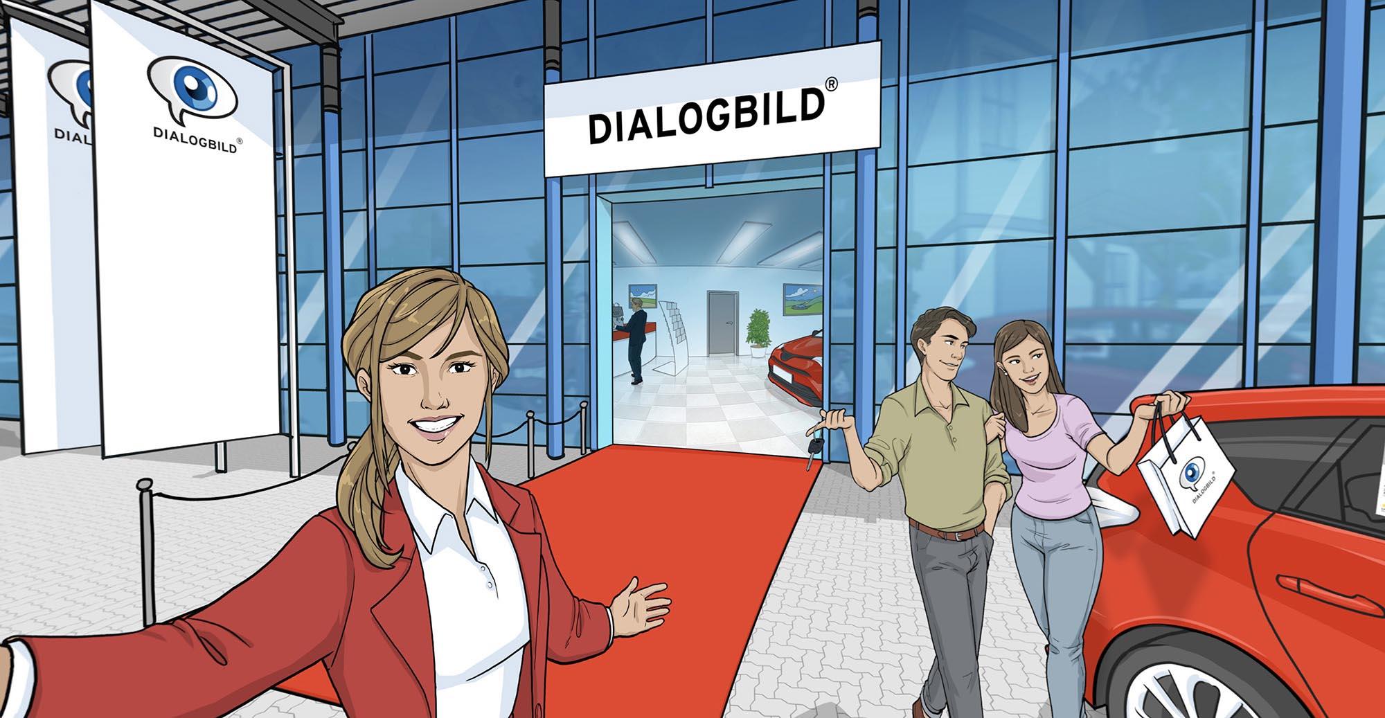 Ein modernes Autohaus als Dialogbild VR-Experience.