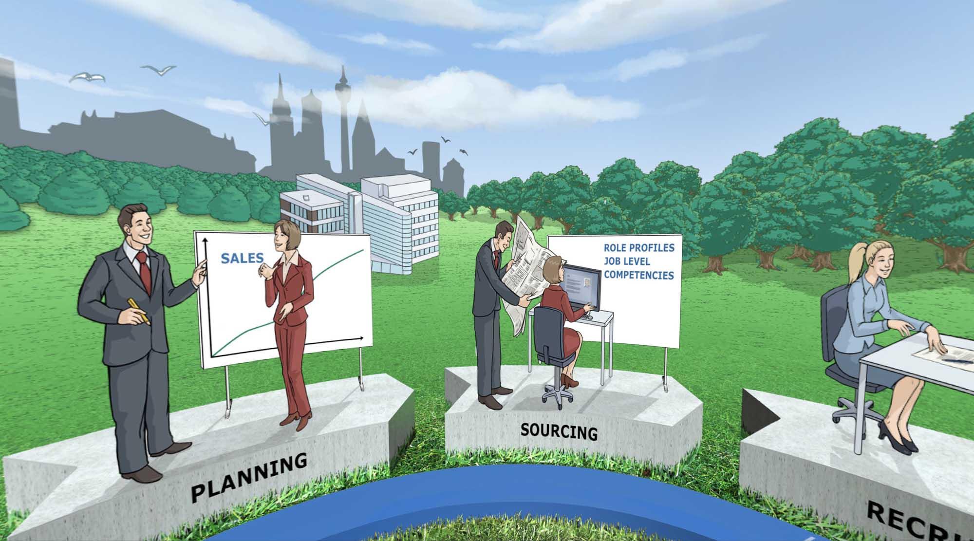 Unternehmensprozesse wie Planning und Sourcing als VR Dialogbild illustriert