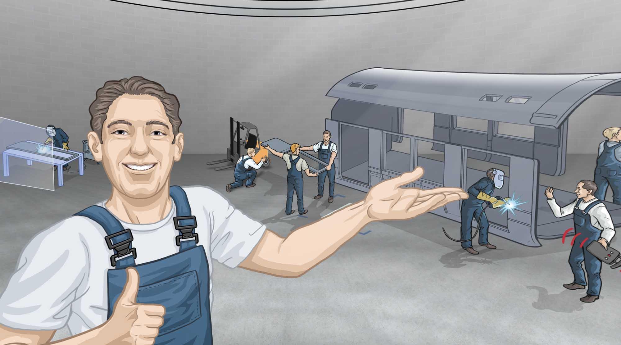 Arbeiter präsentiert eine Werkshalle, in der ein Zug zusammengebaut wird.