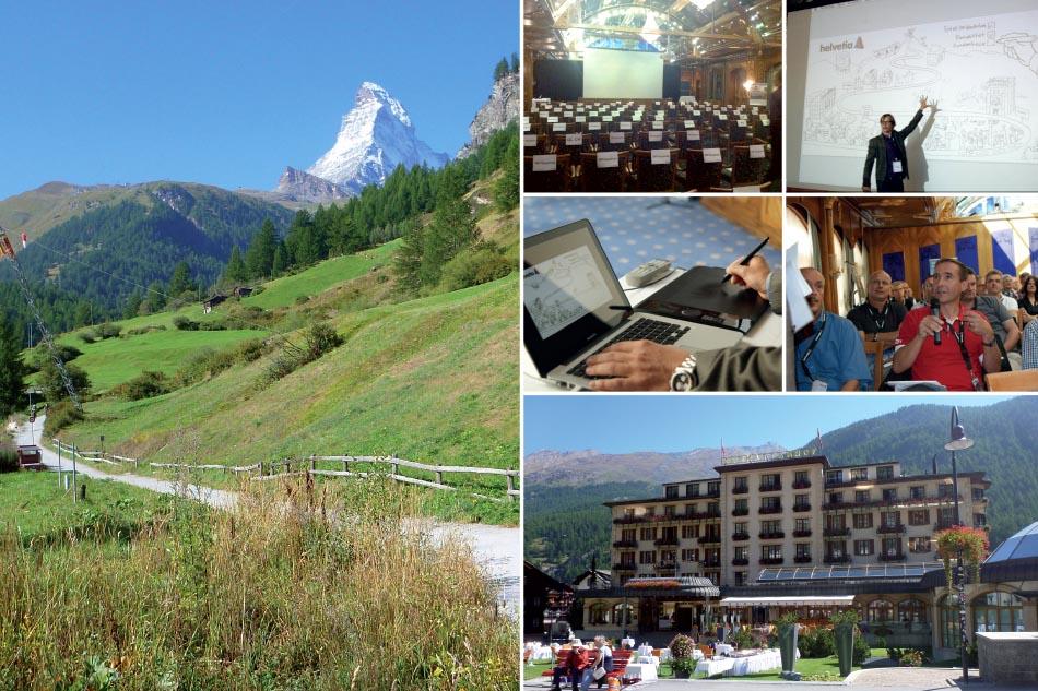 Eindrücke der Berglandschaft und des Hotels vom Helvetica Workshop.